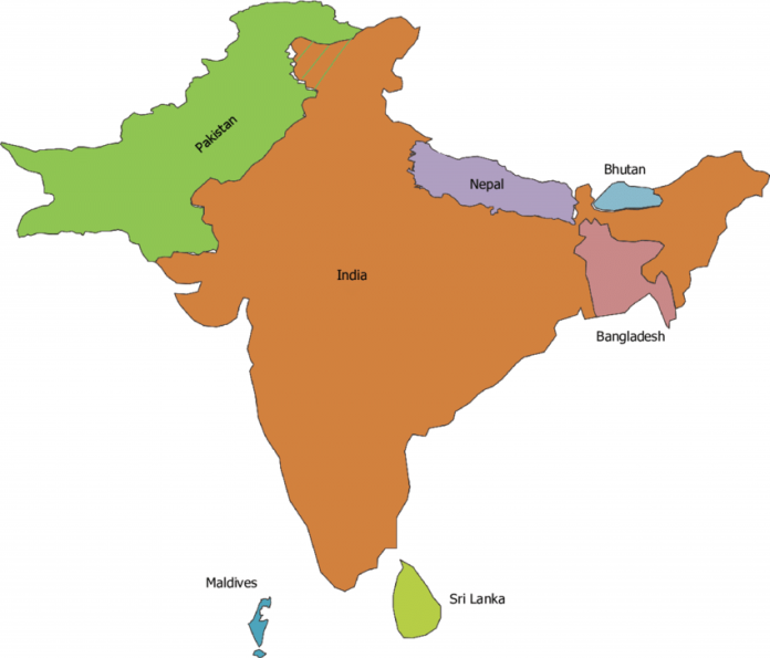 Map of South Asian countries